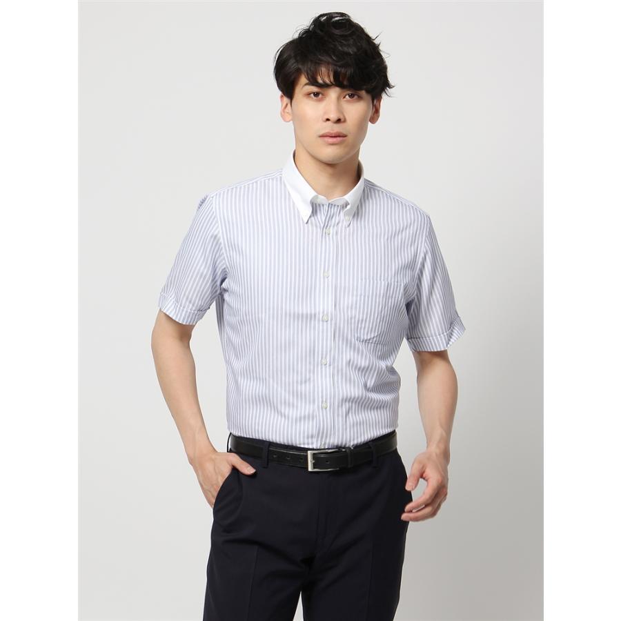 ドレスシャツ/半袖/メンズ/半袖・NONIRON STRETCH/ボタンダウンカラードレスシャツ〔EC・BASIC〕 ホワイト×ブルー