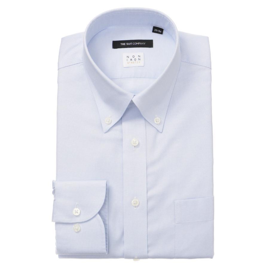 ドレスシャツ/長袖/メンズ/NON IRON STRETCH/ボタンダウンカラードレスシャツ 織柄 〔EC・BASIC〕 サックスブルー×ホワイト