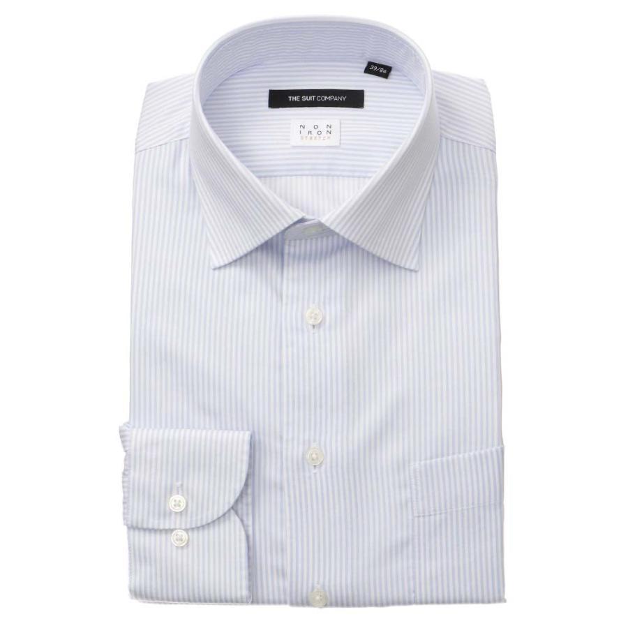 ドレスシャツ/長袖/メンズ/NON IRON STRETCH/ワイドカラードレスシャツ ストライプ 〔EC・BASIC〕 サックスブルー×ホワイト