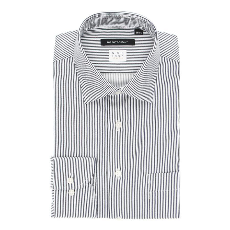 ドレスシャツ/長袖/メンズ/NON IRON STRETCH/ワイドカラードレスシャツ ストライプ 〔EC・BASIC〕 ネイビー×ホワイト