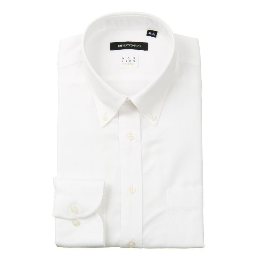 ドレスシャツ/長袖/メンズ/NON IRON STRETCH/ボタンダウンカラードレスシャツ 織柄 〔EC・BASIC〕 ホワイト