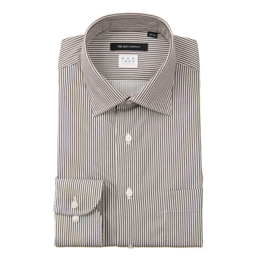 ドレスシャツ/長袖/メンズ/NON IRON STRETCH/ワイドカラードレスシャツ ストライプ 〔EC・BASIC〕 ブラウン×ホワイト