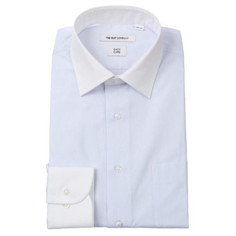 ドレスシャツ/長袖/メンズ/クレリック&ワイドカラードレスシャツ ストライプ 〔EC・FIT〕 ホワイト×サックスブルー