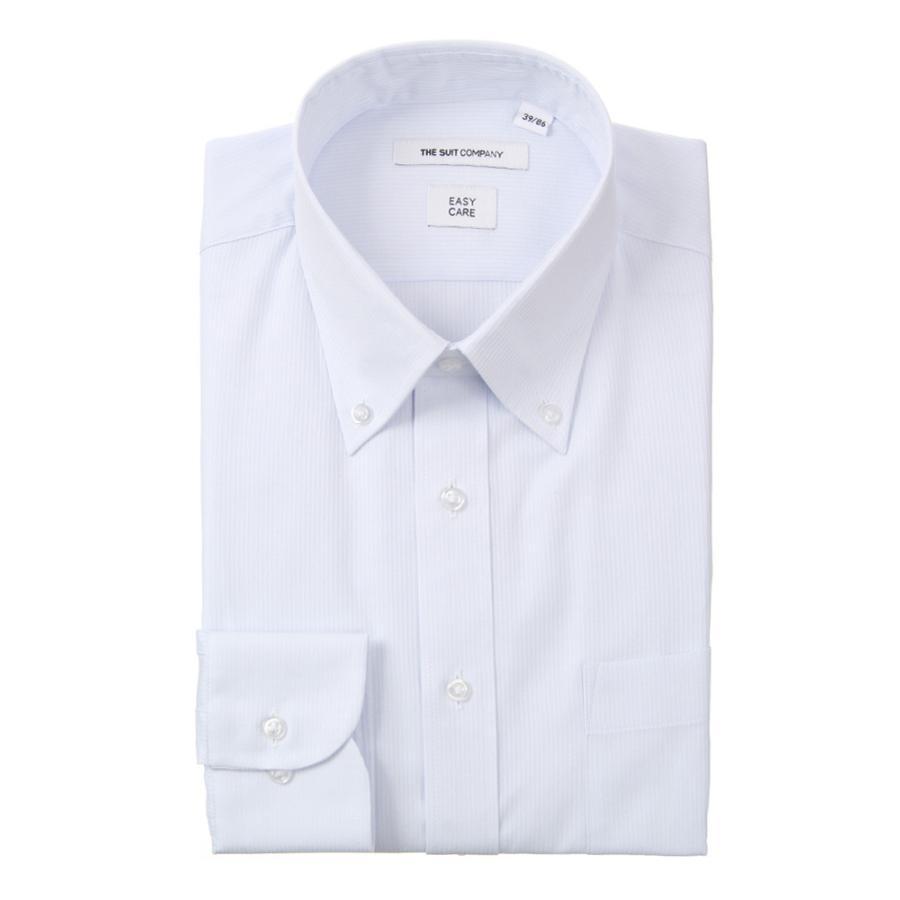 ドレスシャツ/長袖/メンズ/ボタンダウンカラードレスシャツ ストライプ 〔EC・FIT〕 サックスブルー