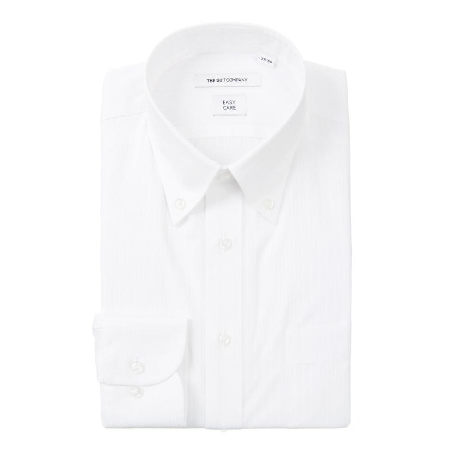 ドレスシャツ/長袖/メンズ/ボタンダウンカラードレスシャツ シャドーストライプ 〔EC・FIT〕 ホワイト
