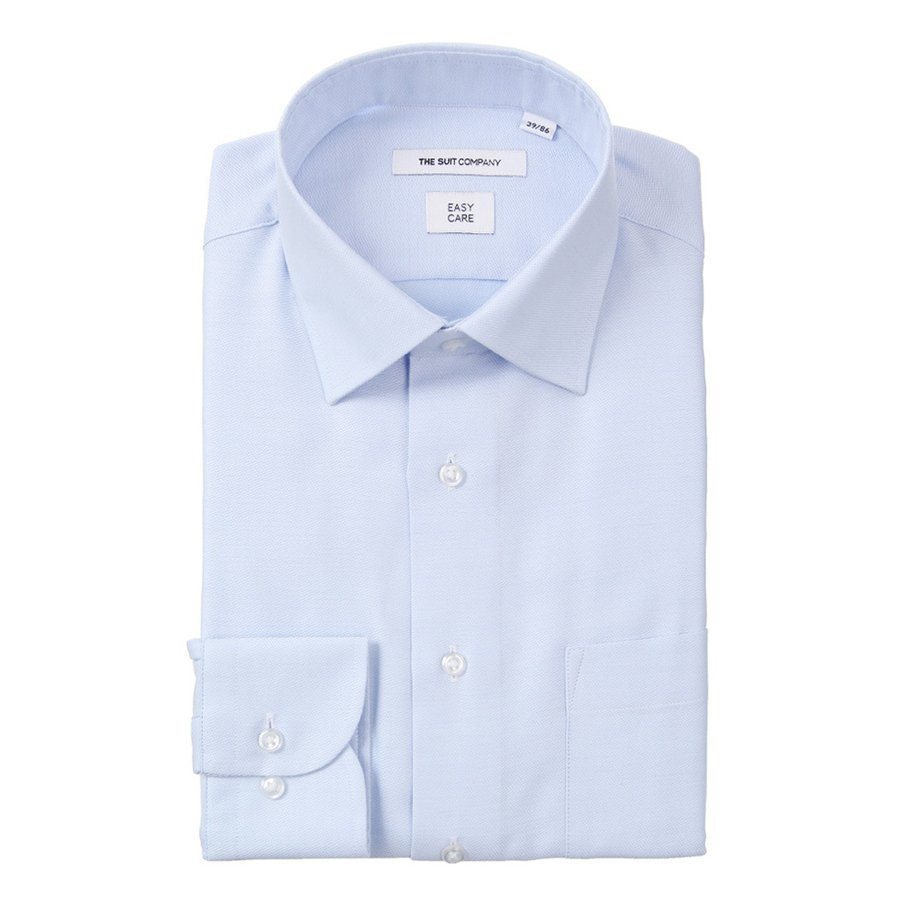 ドレスシャツ/長袖/メンズ/ワイドカラードレスシャツ 織柄 〔EC・FIT〕 ブルー×ホワイト