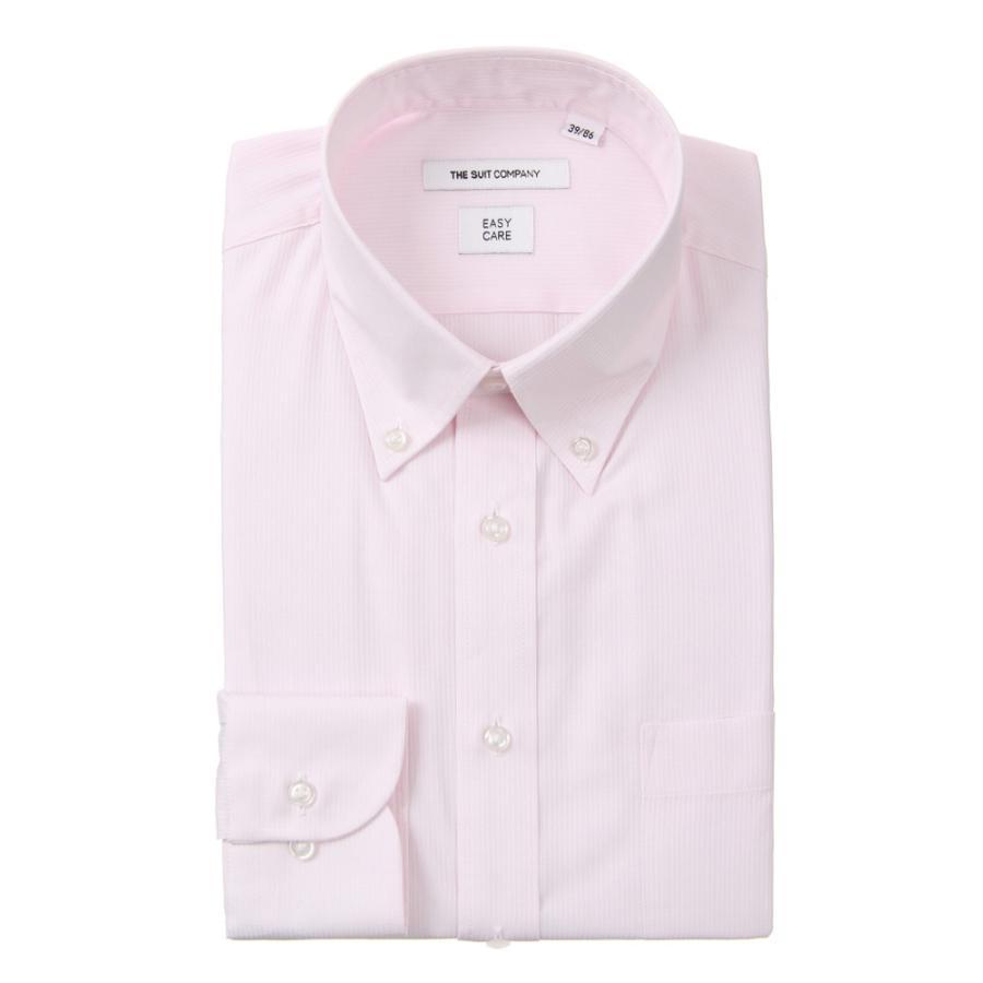 ドレスシャツ/長袖/メンズ/ボタンダウンカラードレスシャツ ストライプ 〔EC・FIT〕 ピンク