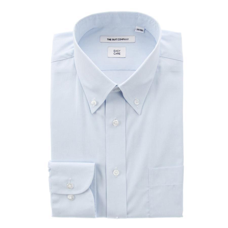 ドレスシャツ/長袖/メンズ/ボタンダウンカラードレスシャツ 無地 〔EC・FIT〕 サックスブルー
