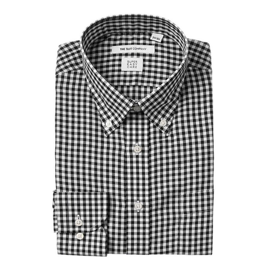 ドレスシャツ/長袖/メンズ/SUPER EASY CARE/ボタンダウンカラードレスシャツ ギンガムチェック〔EC・FIT〕 ブラック×ホワイト