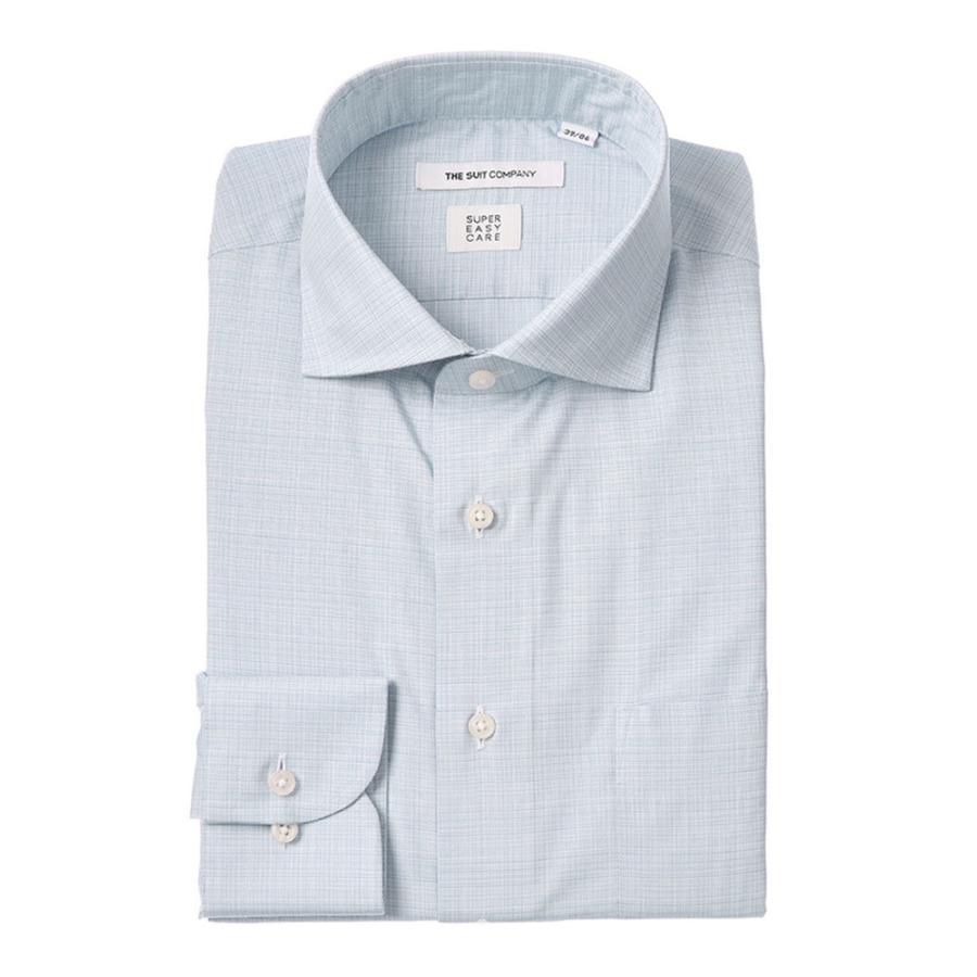ドレスシャツ/長袖/メンズ/SUPER EASY CARE/ホリゾンタルカラードレスシャツ 織柄 〔EC・FIT〕 ブルー×ホワイト