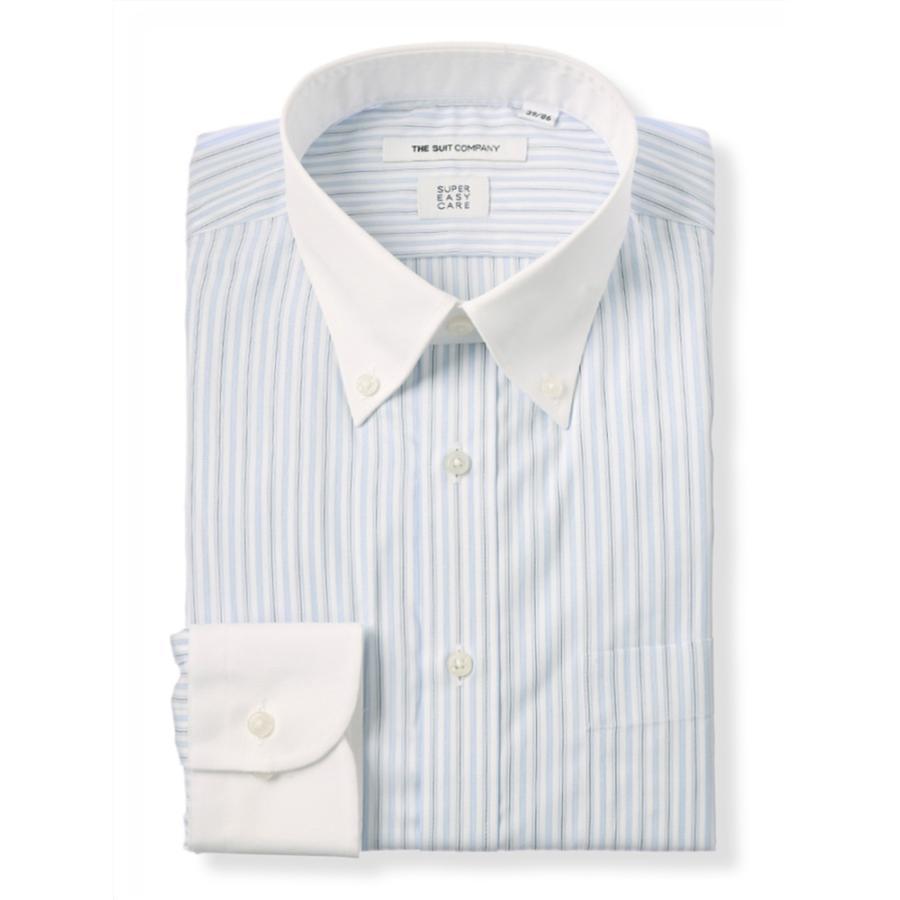 ドレスシャツ/長袖/メンズ/SUPER EASY CARE/クレリック&ボタンダウンカラードレスシャツ 〔EC・FIT〕 ホワイト×ブルー×ブラック