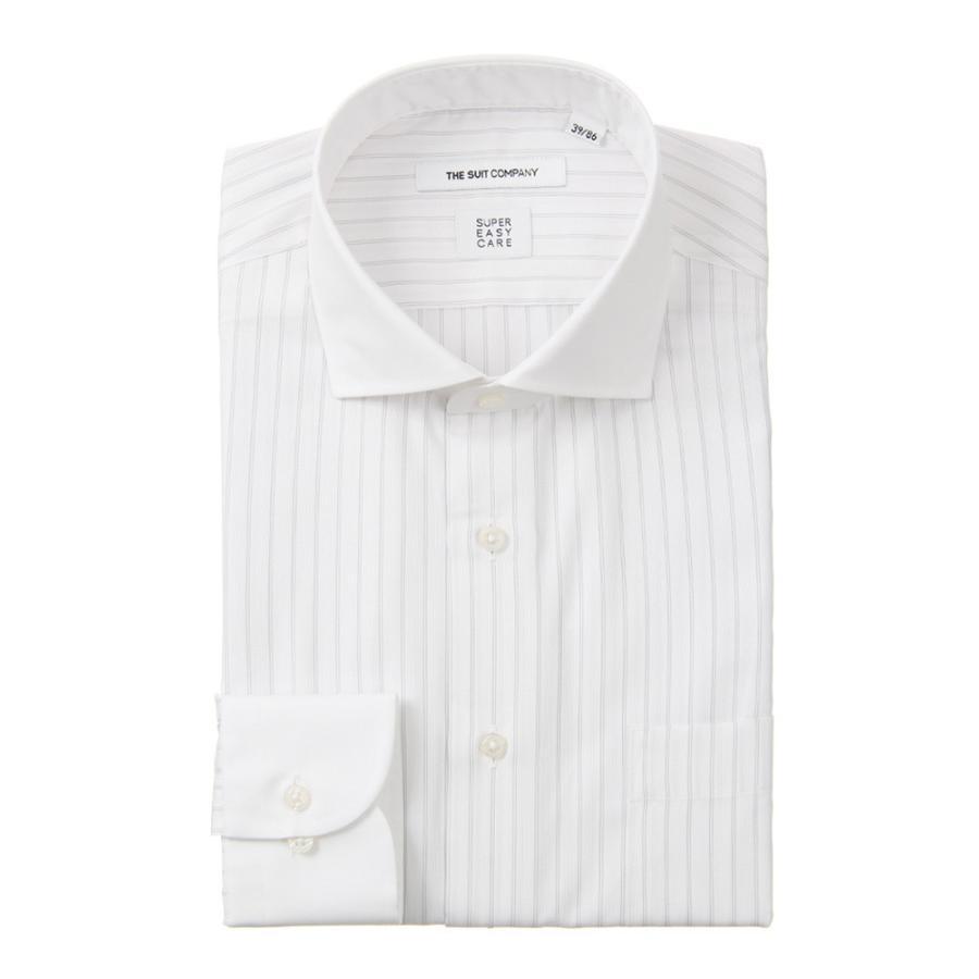 ドレスシャツ/長袖/メンズ/SUPER EASY CARE/クレリック&ホリゾンタルカラードレスシャツ〔EC・FIT〕 ホワイト×ライトグレー