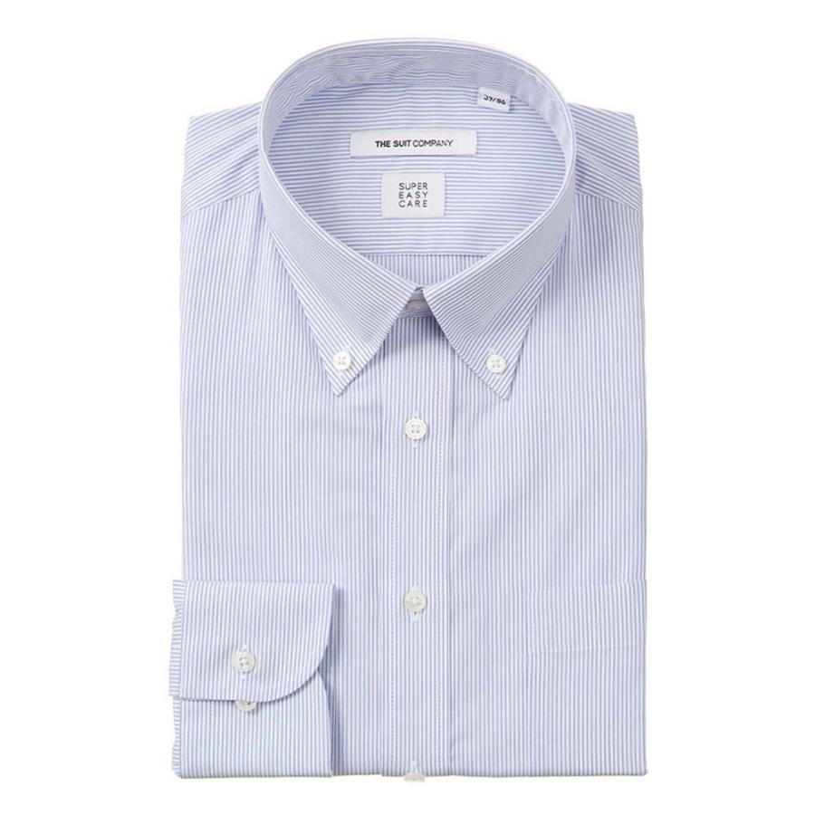 ドレスシャツ/長袖/メンズ/SUPER EASY CARE/ボタンダウンカラードレスシャツ ストライプ〔EC・FIT〕 サックスブルー×ホワイト