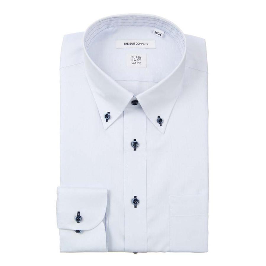 ドレスシャツ/長袖/メンズ/COOL MAX/ボタンダウンカラードレスシャツ 織柄 〔EC・FIT〕 サックスブルー