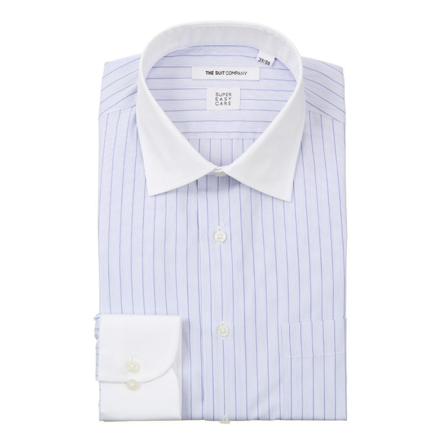 ドレスシャツ/長袖/メンズ/COOL MAX/ワイドカラードレスシャツ ストライプ 〔EC・FIT〕 サックスブルー×ネイビー×ホワイト