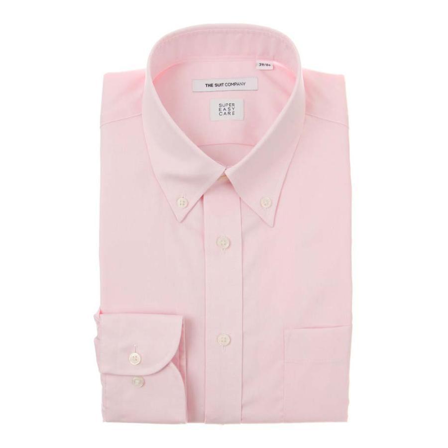ドレスシャツ/長袖/メンズ/SUPER EASY CARE/ボタンダウンカラードレスシャツ 無地 〔EC・FIT〕 ピンク