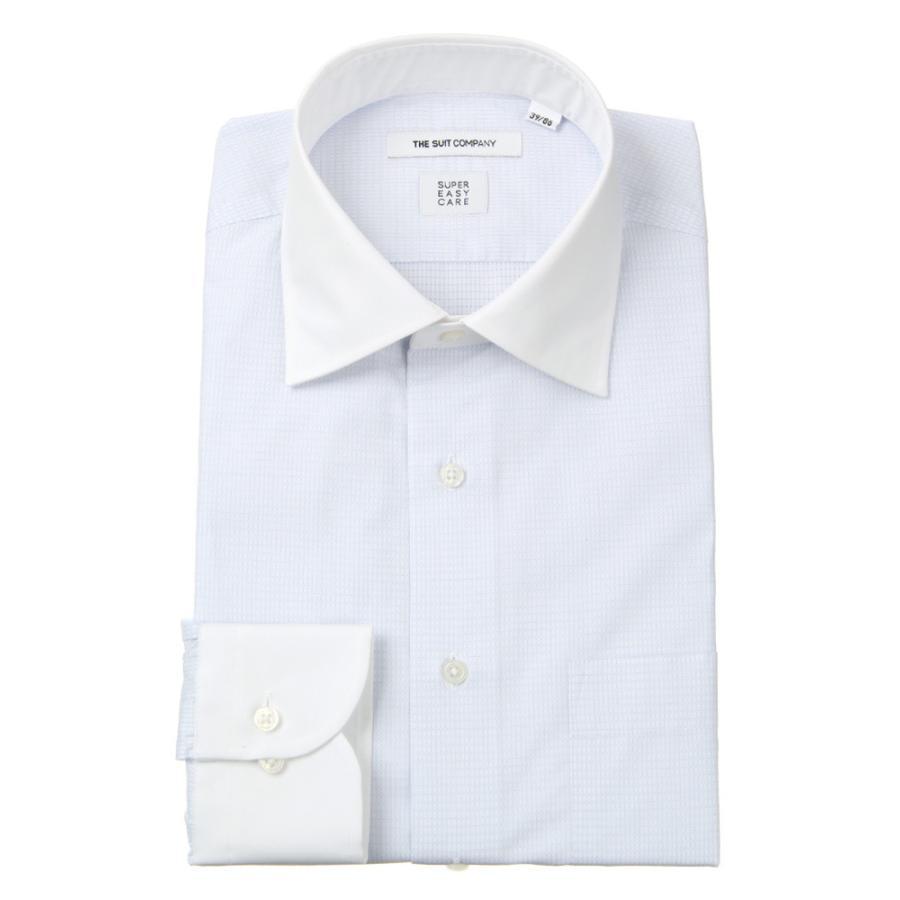 ドレスシャツ/長袖/メンズ/SUPER EASY CARE/クレリック&ワイドカラードレスシャツ チェック 〔EC・FIT〕 ホワイト×サックスブルー