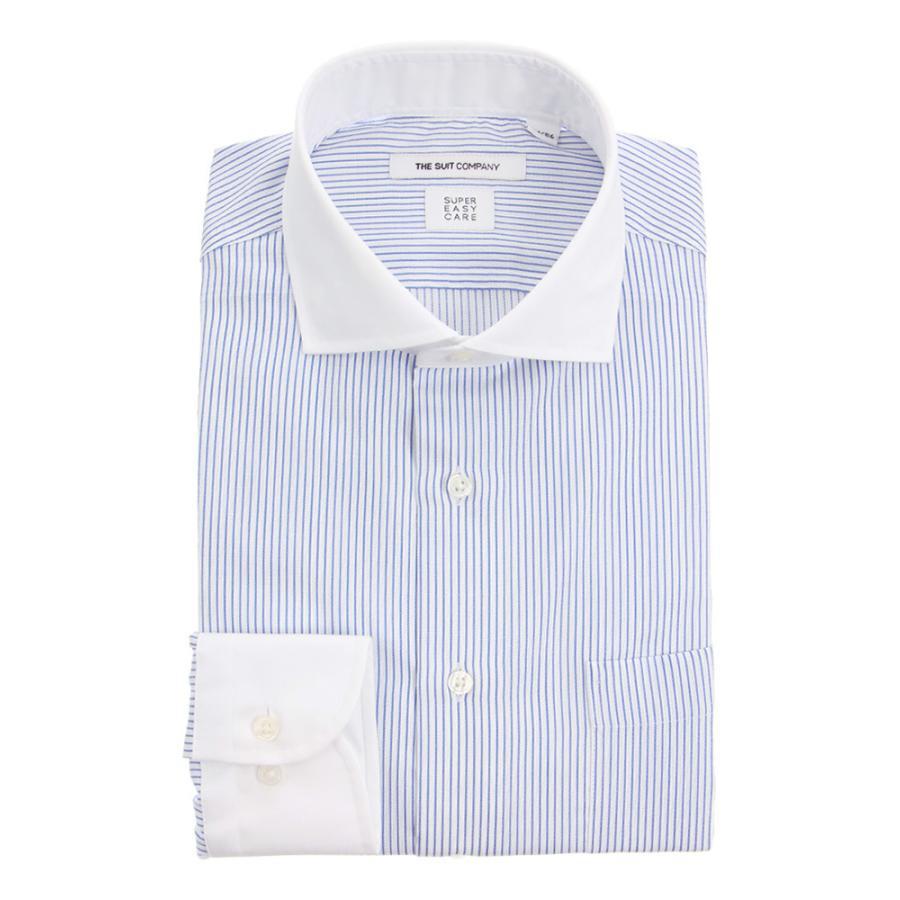 ドレスシャツ/長袖/メンズ/SUPER EASY CARE/クレリック&ホリゾンタルカラードレスシャツ 〔EC・FIT〕 ホワイト×ブルー