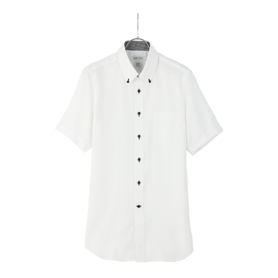 ドレスシャツ/半袖/メンズ/半袖・ICE COTTON/ボタンダウンカラードレスシャツ 織柄 〔EC・FIT〕 ホワイト