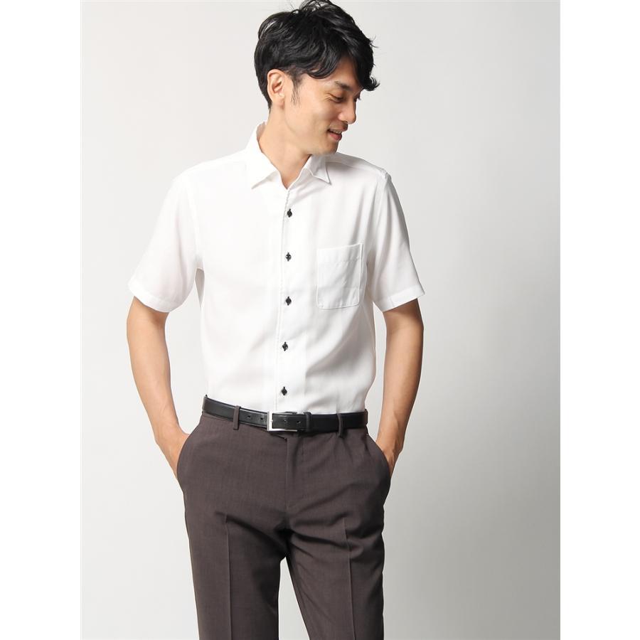 ドレスシャツ/半袖/メンズ/半袖・ICE COTTON/ワンピースカラードレスシャツ 織柄 〔EC・FIT〕 ホワイト