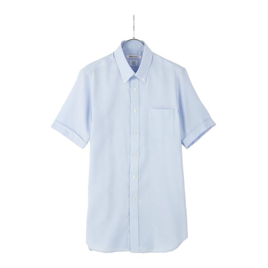 ドレスシャツ/半袖/メンズ/半袖・ICE COTTON/ボタンダウンカラードレスシャツ 織柄 〔EC・FIT〕 ブルー