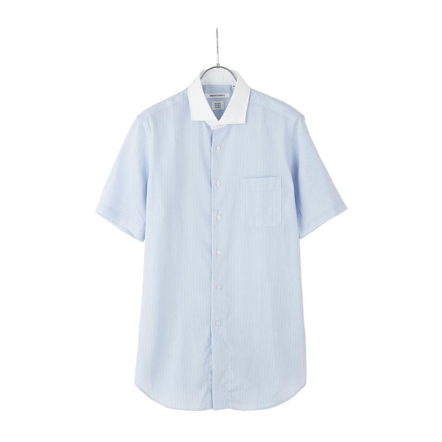 ドレスシャツ/半袖/メンズ/半袖・ICE COTTON/クレリック&ホリゾンタルカラードレスシャツ 〔EC・FIT〕 ブルー×ホワイト