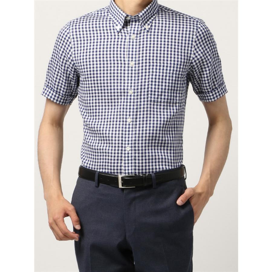 ドレスシャツ/半袖/メンズ/半袖・ICE COTTON/ボタンダウンカラードレスシャツ ギンガムチェック 〔EC・FIT〕 ネイビー×ホワイト