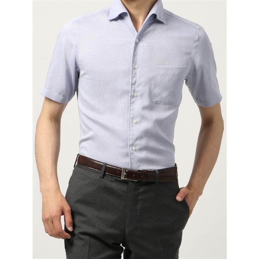 ドレスシャツ/半袖/メンズ/半袖・ICE COTTON/ワンピースカラードレスシャツ 織柄 〔EC・FIT〕 ブルー×ホワイト