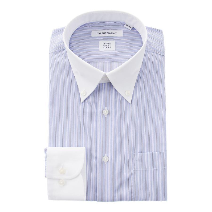 ドレスシャツ/長袖/メンズ/SUPER EASY CARE/クレリック&ボタンダウンカラードレスシャツ〔EC・FIT〕 ブルー×ホワイト×ネイビー