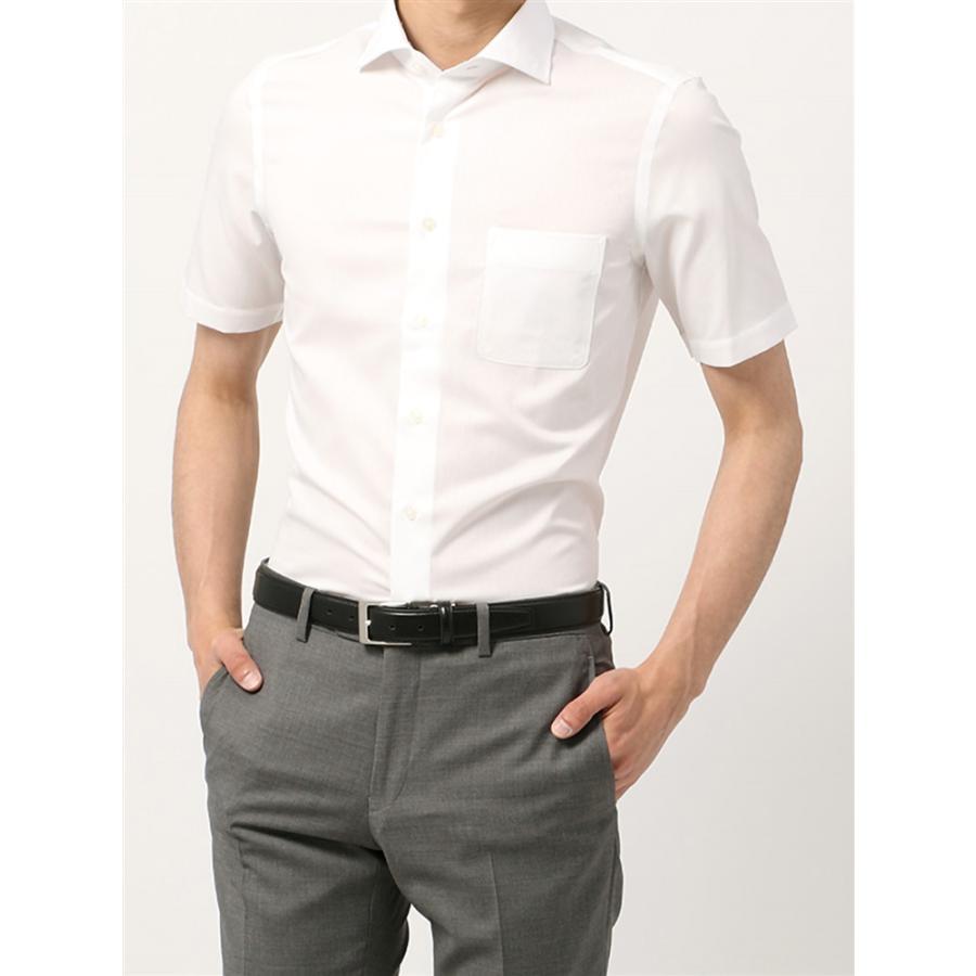 ドレスシャツ/半袖/メンズ/半袖・SUPER EASY CARE/ホリゾンタルカラードレスシャツ 織柄 〔EC・FIT〕 ホワイト
