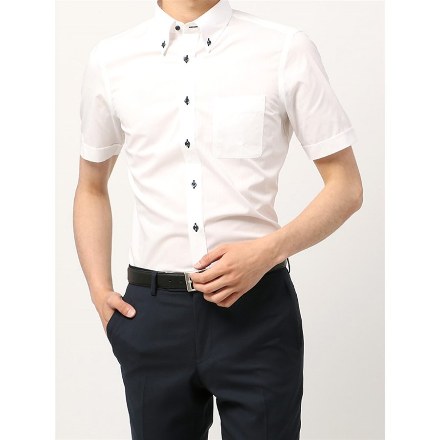 ドレスシャツ/半袖/メンズ/半袖・SUPER EASY CARE/ボタンダウンカラードレスシャツ 〔EC・FIT〕 ホワイト