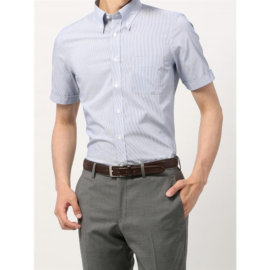 ドレスシャツ/半袖/メンズ/半袖・SUPER EASY CARE/ボタンダウンカラードレスシャツストライプ 〔EC・FIT〕 ネイビー×ホワイト