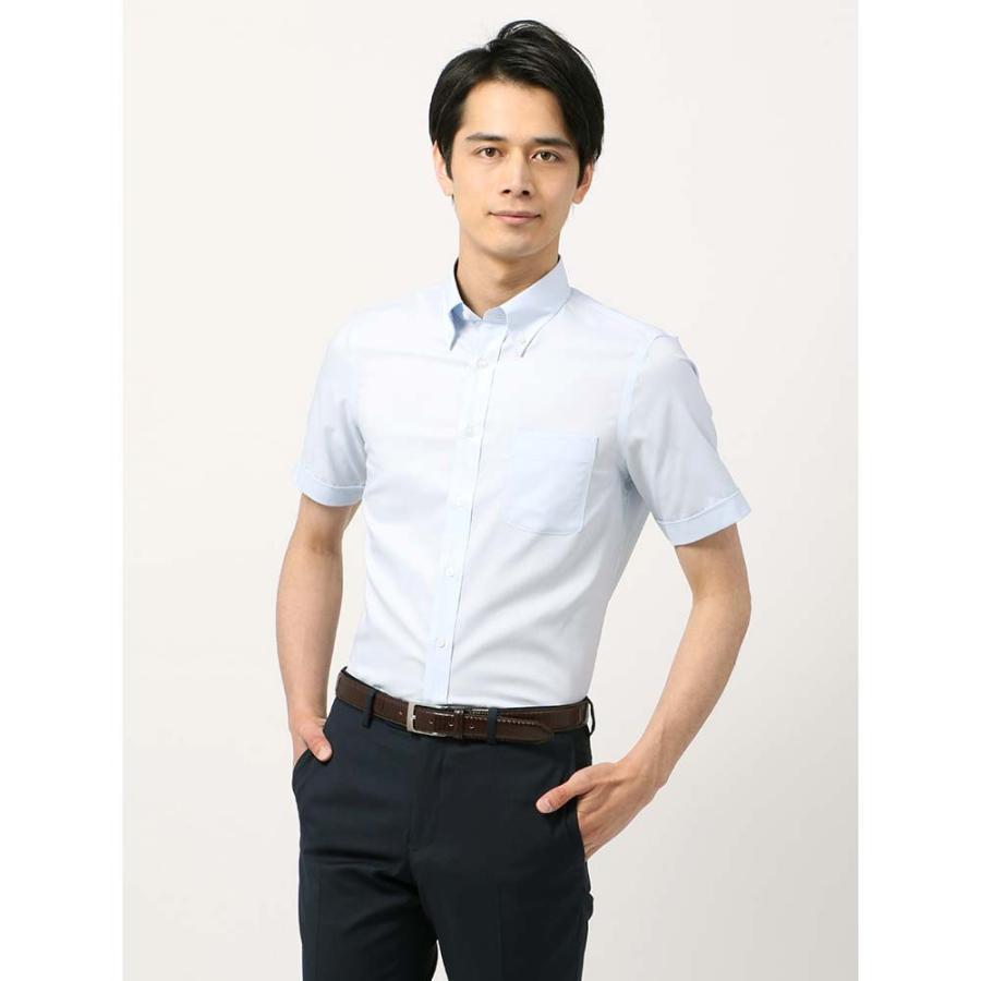 ドレスシャツ/半袖/メンズ/半袖・SUPER EASY CARE/ボタンダウンカラードレスシャツ 無地 〔EC・FIT〕 サックスブルー