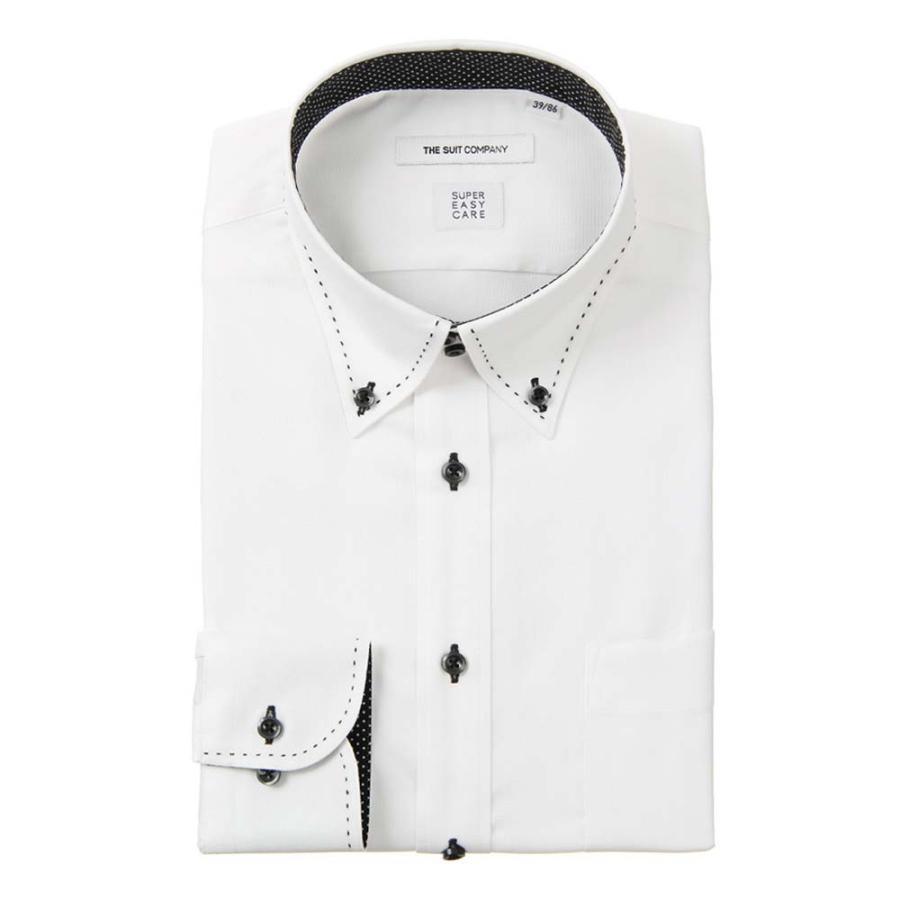 ドレスシャツ/長袖/メンズ/SUPER EASY CARE/デュエボットーネ&ボタンダウンカラードレスシャツ〔EC・FIT〕 ホワイト