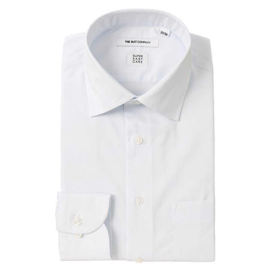 ドレスシャツ/長袖/メンズ/SUPER EASY CARE/ワイドカラードレスシャツ 無地 〔EC・FIT〕 サックスブルー