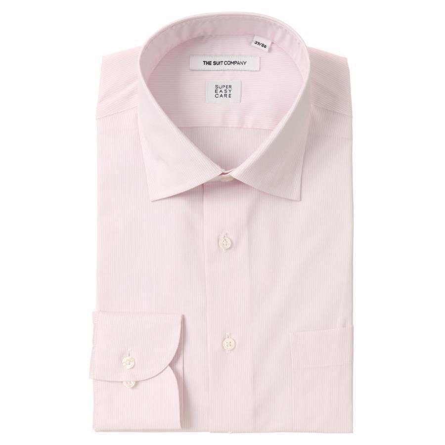 ドレスシャツ/長袖/メンズ/SUPER EASY CARE/ワイドカラードレスシャツ ストライプ 〔EC・FIT〕 ピンク×ホワイト