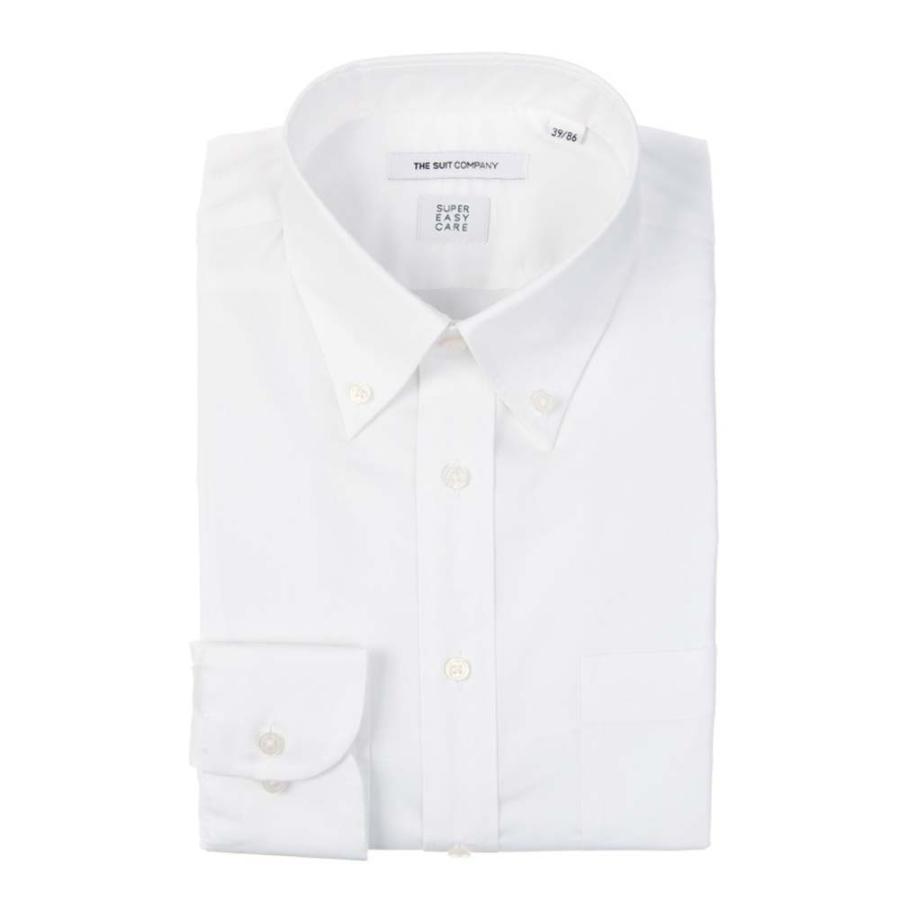 ドレスシャツ/長袖/メンズ/SUPER EASY CARE/ボタンダウンカラードレスシャツ 無地 〔EC・FIT〕 ホワイト