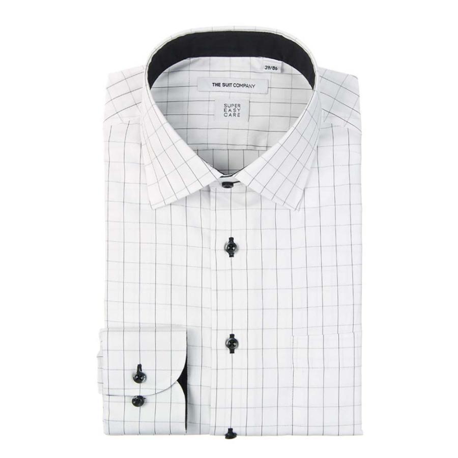 ドレスシャツ/長袖/メンズ/SUPER EASY CARE/ワイドカラードレスシャツ チェック 〔EC・FIT〕 ホワイト×ブラック