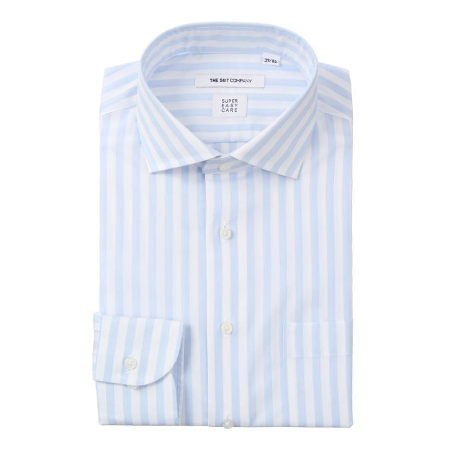 ドレスシャツ/長袖/メンズ/SUPER EASY CARE/ホリゾンタルカラードレスシャツ ストライプ 〔EC・FIT〕 サックスブルー×ホワイト