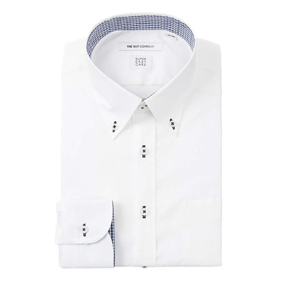 ドレスシャツ/長袖/メンズ/SUPER EASY CARE/ボタンダウンカラードレスシャツ 織柄 〔EC・FIT〕 ホワイト