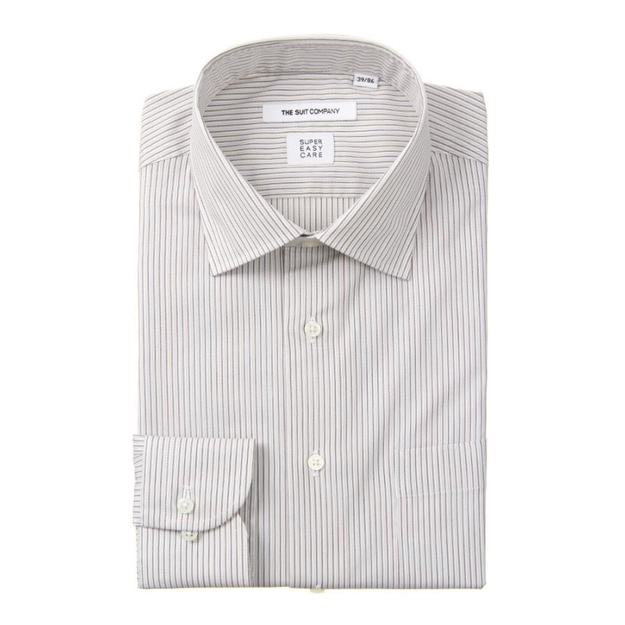 ドレスシャツ/長袖/メンズ/SUPER EASY CARE/ワイドカラードレスシャツ ストライプ 〔EC・FIT〕 ホワイト×ベージュ×ブラウン
