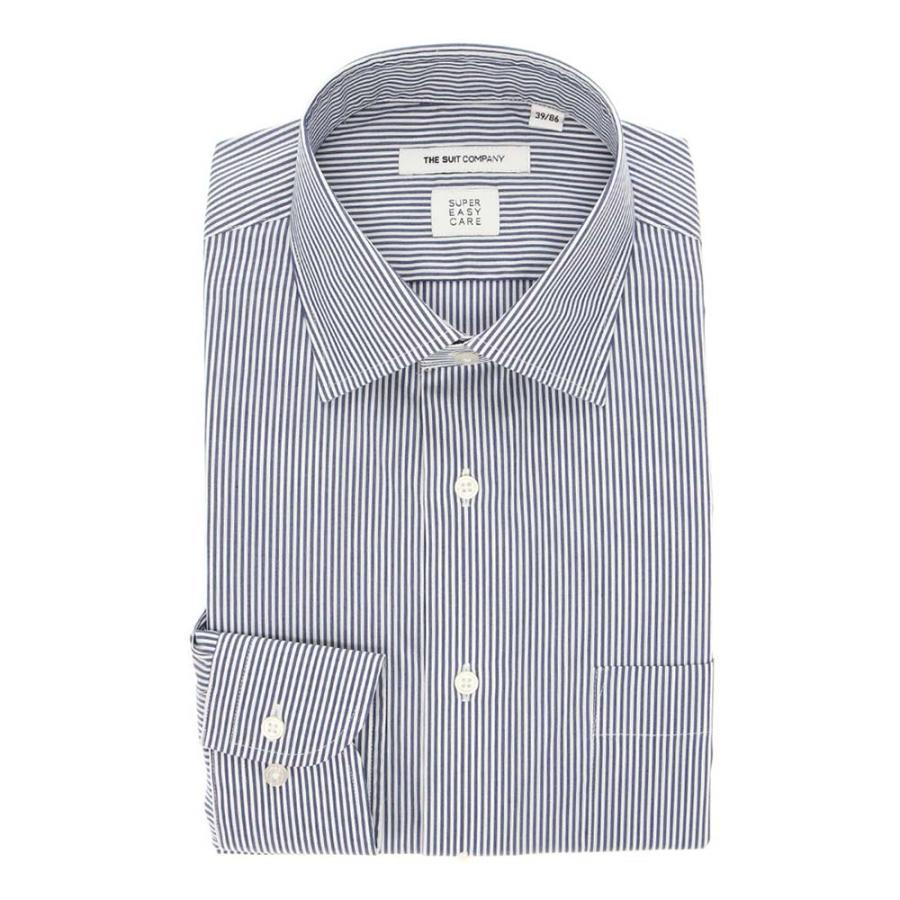 ドレスシャツ/長袖/メンズ/SUPER EASY CARE/ワイドカラードレスシャツ ストライプ 〔EC・FIT〕 ネイビー×ホワイト