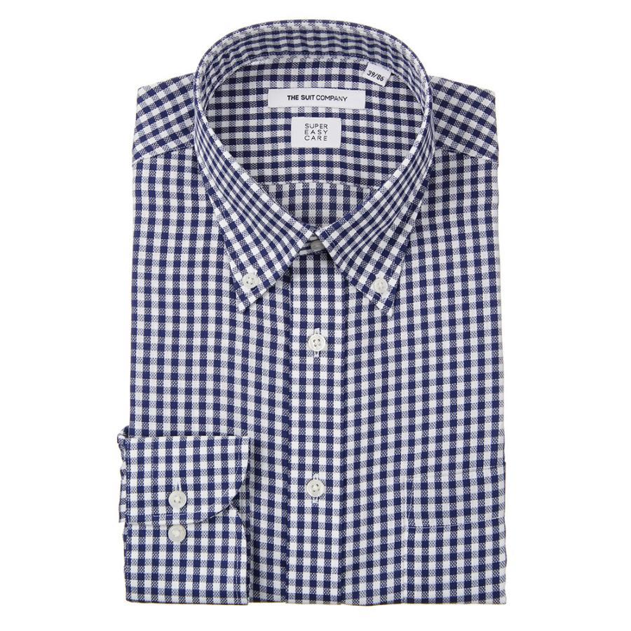 ドレスシャツ/長袖/メンズ/ICE COTTON/ボタンダウンカラードレスシャツ ギンガムチェック 〔EC・FIT〕 ネイビー×ホワイト