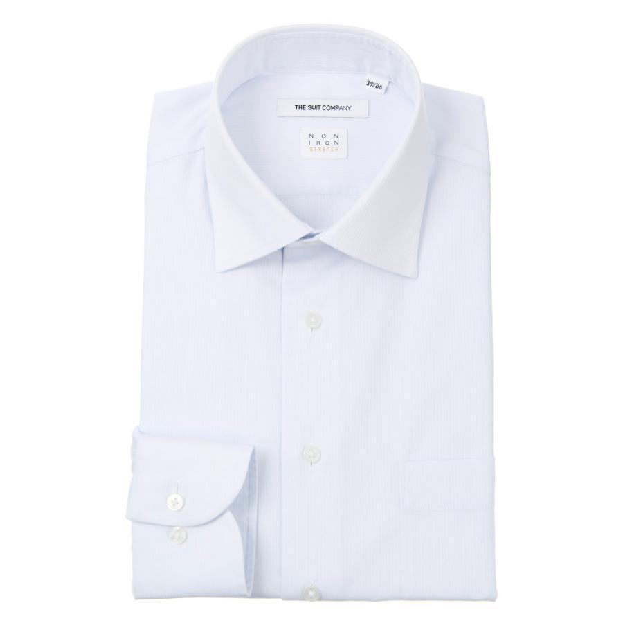 ドレスシャツ/長袖/メンズ/NON IRON STRETCH/ワイドカラードレスシャツ シャドーストライプ〔EC・FIT〕 サックスブルー
