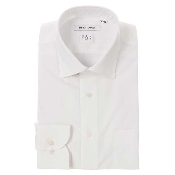 ドレスシャツ/長袖/メンズ/NON IRON STRETCH/ワイドカラードレスシャツ 織柄 〔EC・FIT〕 ホワイト