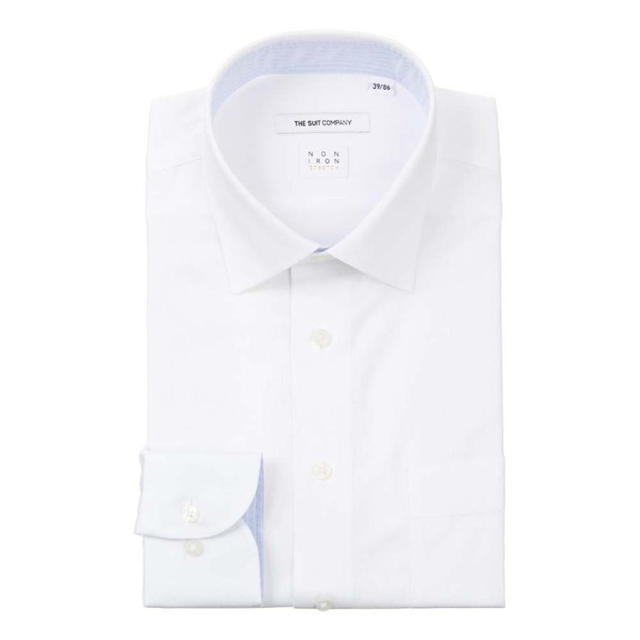 ドレスシャツ/長袖/メンズ/NON IRON STRETCH/ワイドカラードレスシャツ シャドーストライプ 〔EC・FIT〕 ホワイト