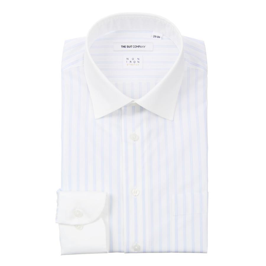 ドレスシャツ/長袖/メンズ/NON IRON STRETCH/クレリック&ワイドカラードレスシャツ ストライプ〔EC・FIT〕 ホワイト×ブルー