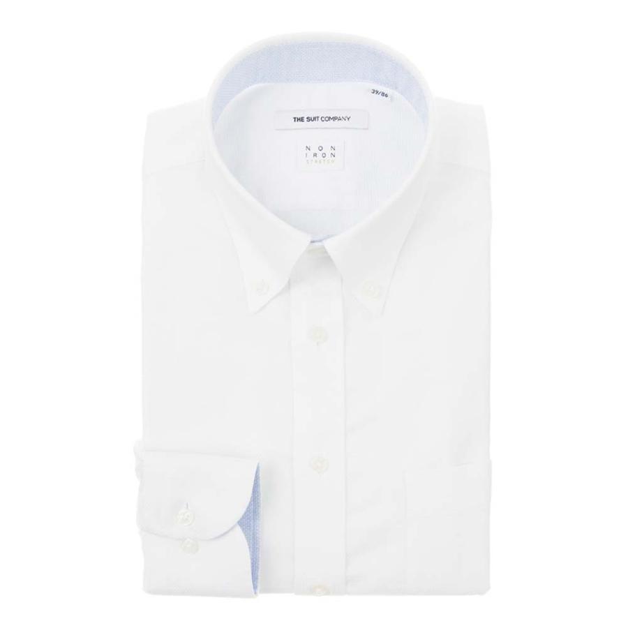ドレスシャツ/長袖/メンズ/NON IRON STRETCH/ボタンダウンカラードレスシャツ 織柄 〔EC・FIT〕 ホワイト