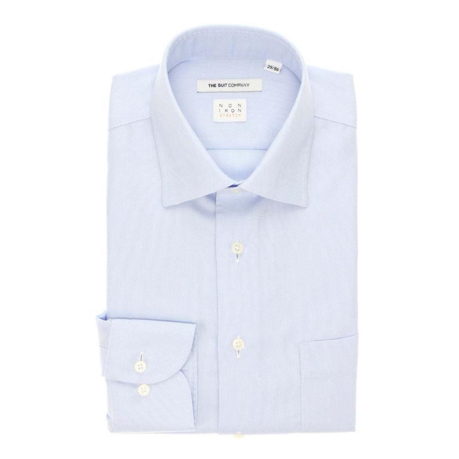 ドレスシャツ/長袖/メンズ/NON IRON STRETCH/ワイドカラードレスシャツ 織柄 〔EC・FIT〕 サックスブルー×ホワイト