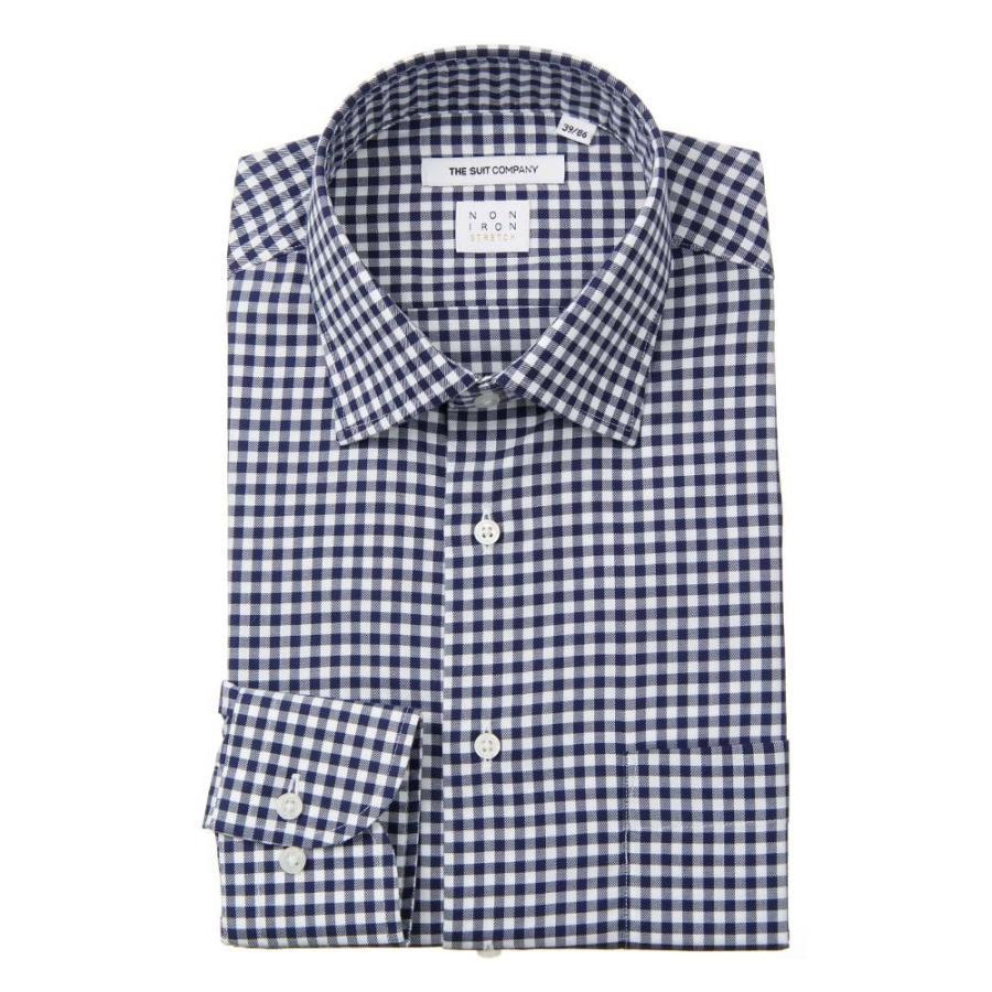 ドレスシャツ/長袖/メンズ/NON IRON STRETCH/ワイドカラードレスシャツ ギンガムチェック 〔EC・FIT〕 ネイビー×ホワイト